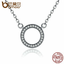 Bamoer Sparkling S925 Sterling Silver Round Pendant Necklace Clear CZ For Women