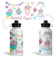 Personalised Printed aluminium childs school water drink bottle unicorn sweets