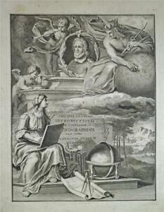 1697 Antique PHILIP CLUVERIUS Print - UNIVERSAM GEOGRAPHIAM, cherubs & globe etc