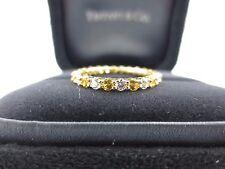 Tiffany & Co 18K Yellow Gold Sapphire & Diamond Shared Prong Band Ring .87Ct