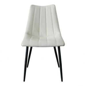 """18"""" W Set of 2 Dining Chair White Faux Leather Foam Padded Seat Metal Frame"""