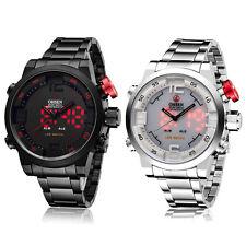 OHSEN Schwarz Weiss Analog Digital LED Licht Edelstahl Quarz Armband Herren Uhr