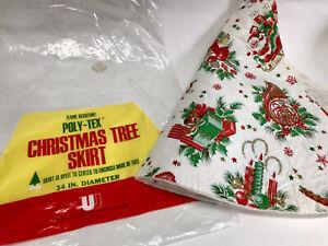"Vintage Poly-tex Christmas Tree Skirt  34"" Santa Sleigh"