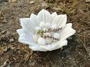 2 Inch Deep Marble Lotus Bowl,Marble Lotus Plate, White Marble Bowl, Decorative