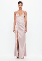 Missguided Peace + Love Mauve Nude Bonded Satin Maxi Dress Size 8