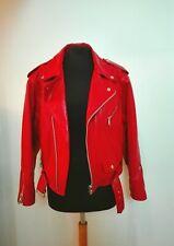 Chiodo rosso vera pelle giubbino moto motociclista