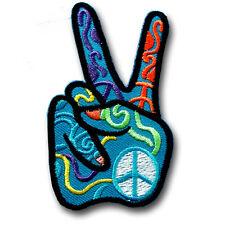 Victory Henna Hand Peace Sign Patch Iron on Applique Tattoo Hippie Boho Biker V2
