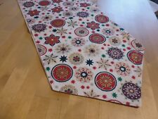 christmas table runner red gold and green snowflakes  fully lined156cm x 29cm