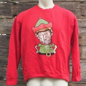 Donald Trump Elf Sweatshirt Mens Size Large Red Ugly Christmas Sweatshirt