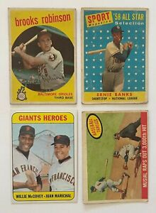 Lot - 1958 Banks All Star, 1959 Robinson, Musial 3000th Hit, 1969 Giants Heroes