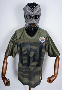 Huf Worldwide Skateboard T-Shirt Tee Top Rank Football Jersey Camo in M