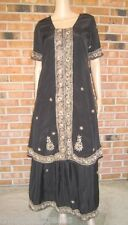 Vtg Black GOLD BEADED 2pc ETHNIC Tunic SARI+MAXI Skirt Boho INDIA Outfit S M