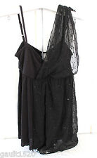 NWT Free People Designer Unique Sequined Black Sexy Sheer Drape Dress Top M $128