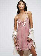 NEW Free People IFP pink lavender Tie Dye Lace Trimmed Ruffle Hem Slip Dress M