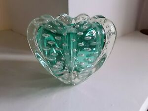 MURANO Vintage Clear & aqua Art Glass Controlled Bubble Tealight Candle Holder