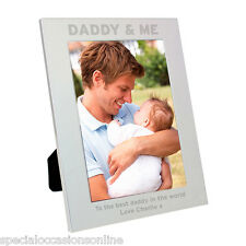 Personalised S/Plated Portrait Photo Frame 5 x 7 Daddy & Me Christmas Gift