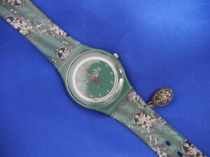 TWILIGHT TM & C GREEN SILICONE WATCH with dangle, NEW BATTERY, WORKS A20