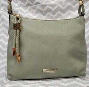 Michael Kors LEXINGTON Medium Pebble Leather Hobo Shoulder Bag Purse ARMY GREEN