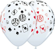 10 pc Cards & Dice White Casino & Poker Latex Balloon Party Decoration Birthday