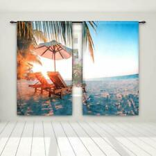 """Dcp 3D Blackout Curtains Thermal Insulated For Bedroom 52""""x63"""",Beach Chair"""