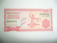 BANCONOTA 20 FRANCHI BURUNDI 2007 FDS