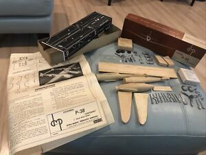 Vintage 1947 Dyna Model WWII P-38 LIGHTNING Balsa Wood & Metal Airplane Kit 1/4""