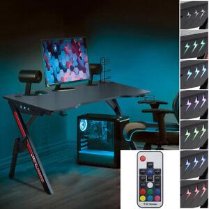 Home Gaming Desk PC Computer Table No/With LED Lights Online Game Effect Desk UK