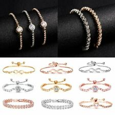 Fashion Women Adjustable Chain Bracelet Rhinestone Crystal Cuff Bangle Jewellery