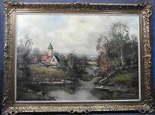 Ölbild,  Landschaft mit Dorf, verm.Süddeutschland, unleser. sign.