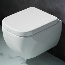 Durovin Bathroom Wall Mounted White Curved Square Toilet With Soft Close Seat