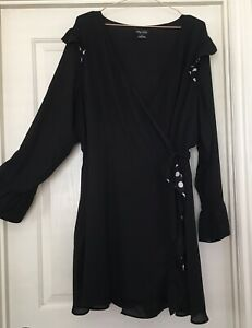 CITY CHIC Playsuit Wrap Dress Plus Size XL Black White Long Sleeved Ruffles VGC