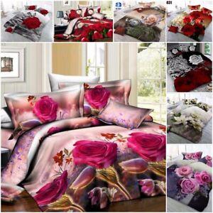 Duvet Cover sets 3D Rose Flower Print 4 pc Bedding Sets Pillowcase Double & King