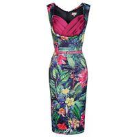 Lindy Bop Vanessa Pink Rainforest Wiggle Dress 50s Rockabilly Tiki Tropical 8-18