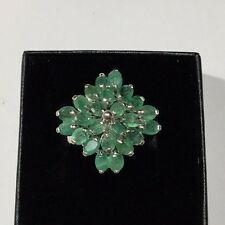 Beautiful Natural Colombian Emerald And Sterling Silver Cluster Ring