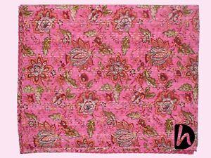 Indian Handmade Blanket King Size Kantha Quilt Cotton Bedcover Bohemian Bedsheet