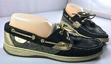 Sperry Top-Sider Bluefish Boat Shoe Womens Black Gold 2-Eye Lace Up Size 9 M