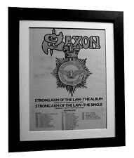 SAXON+Strong Arm Of Law+POSTER+AD+RARE ORIGINAL 1980+FRAMED+EXPRESS GLOBAL SHIP