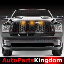 13-17 Dodge RAM 1500 Raptor Style Gloss Black Mesh Grille+Shell+Amber LED light