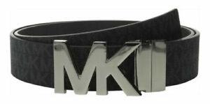 Neu Damen Michael Kors Mk Schwarz Mk Unterschrift Logo Gürtel S KLEIN