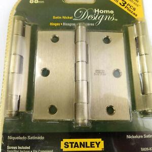 """Stanley Solid Brass 3.5"""" Door Hinge Home Designs 3 Pack Satin Nickel Finish"""