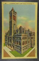 Allegheny County Court House Pittsburgh Pennsylvania 1935 Postcard Linen (b570)