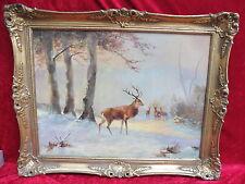 schönes,altes  Gemälde__Hirsche in Winterlandschaft__signiert___ !