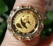 14K GOLD COCKTAIL RING WITH 1/20 oz 1988 PANDA .999 GOLD COIN IN BEZEL @SZ 7