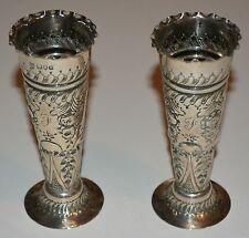 Victorian Pair Of Sterling Silver Vases By Josiah Williams London England 1897