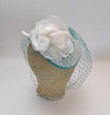 Striking Vintage Veiled Floral Detail White /Teal Scull Cap Hat Wedding/Races