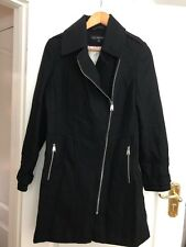 Authentic Black Designer Via Spiga Wool Blend Coat- Size US 12 / UK 12-14