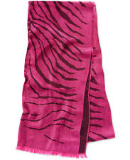 "Michael Kors Jet Set Zebra Jacquard Wrap Large Fuchsia Pink Scarf NWT 24"" x 80"""