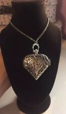 BN Vintage Style Silver Heart Watch Necklace/ Pocket Watch With Diamanté Face