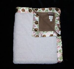Blankets & Beyond Pink Brown Tan Green Baby Blanket Polka Dot Satin Trim 29x34
