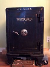 Antiqueca.1900 combination floor safe.- Schwab Safe Co. of Lafayette, IN.,